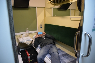 Our Train Cabin from Kyiv to Odessa. We slept well and felt very safe